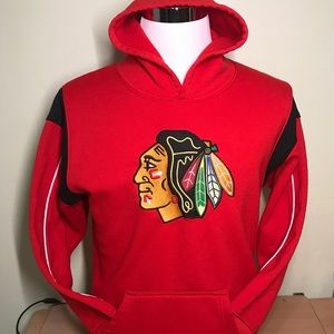 Youth Red and Black Chicago Blackhawks Hoodie